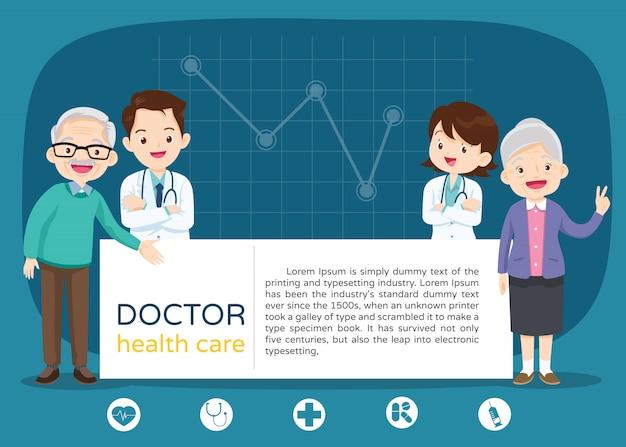 Médico e avós com espaço em branco