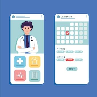 Médico e calendário aplicativo de reserva médica