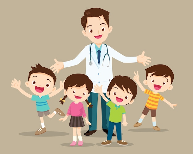 Médico e criança fofa feliz