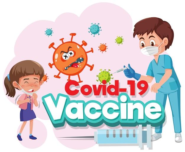 Médico e criança personagem de desenho animado com fonte de vacina covid-19