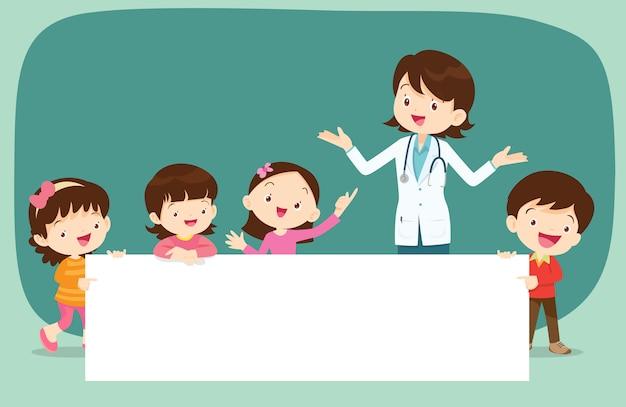 Médico e crianças com banner