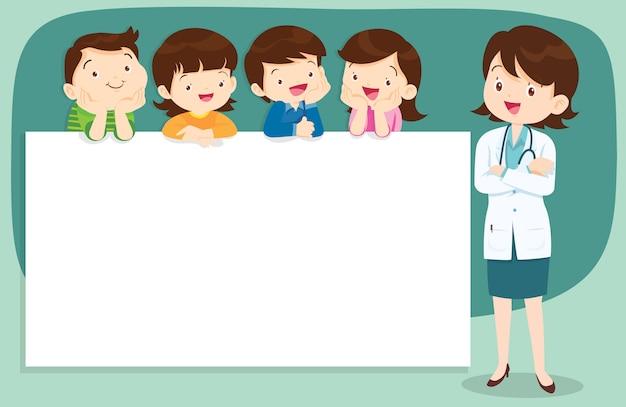 Médico e crianças fofos com banner