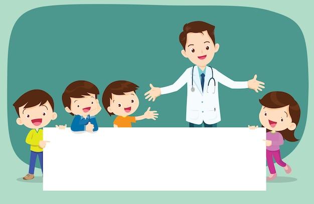 Médico e crianças menino e menina com banner