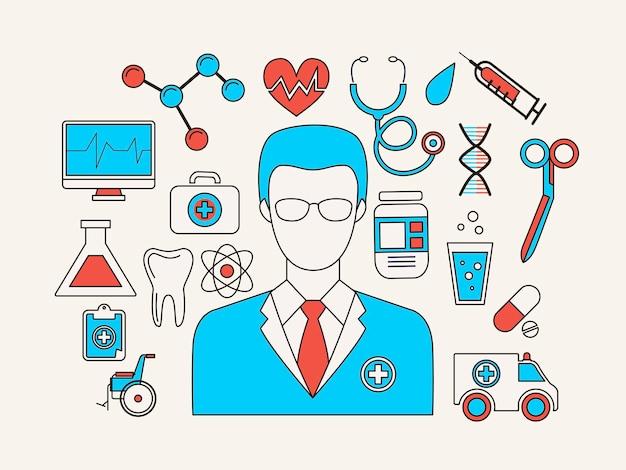 Médico e elementos médicos em estilo de linha plana