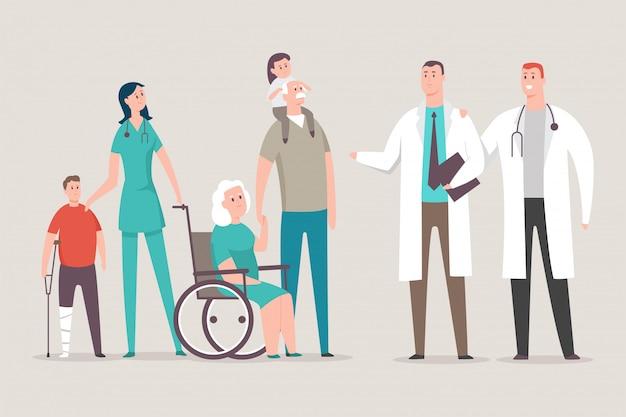 Médico e enfermeira com pacientes vector personagem de desenho animado isolado no fundo.