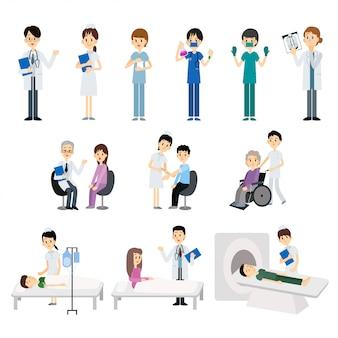 Médico e enfermeira com tratamento e exame do paciente. ilustração.