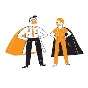 Médico e enfermeira como super-heróis derrotaram o coronavírus