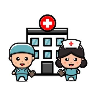 Médico e enfermeira fofos em frente ao personagem de desenho animado do edifício do hospital