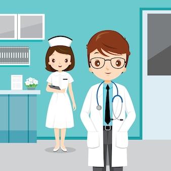 Médico e enfermeira no hospital, ocupação de pessoas