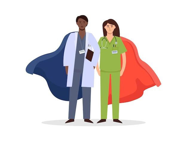 Médico e enfermeira são super-heróis na luta contra o coronavírus.