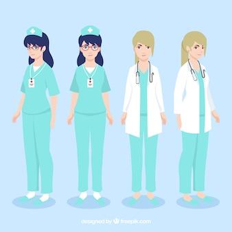 Médico e enfermeiro com design plano