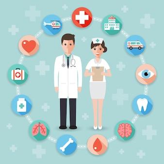 Médico e enfermeiro com ícones médicos.