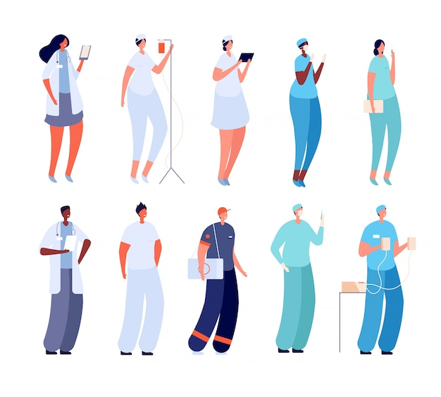 Médico e enfermeiro. estagiário hospitalar, cirurgião paramédico. equipe médica jovem. conjunto de especialista em doenças infecciosas feminino masculino