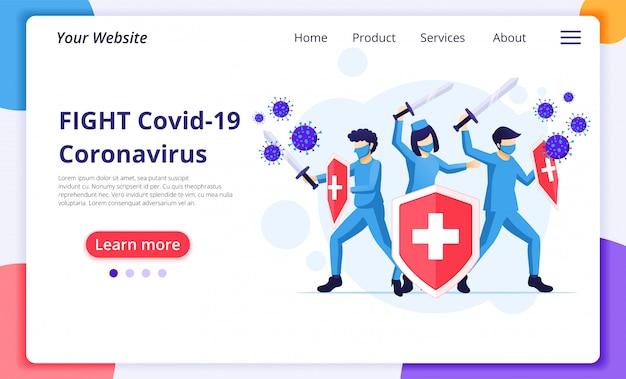 Médico e enfermeiros que lutam com ilustração do conceito do vírus covid-19 corona. modelo de design de página de destino do site