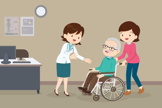 Médico e idoso em cadeira de rodas
