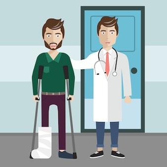 Médico e paciente curado em pé na frente do hospital