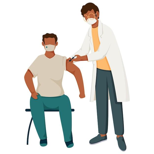 Médico e paciente durante a vacinação