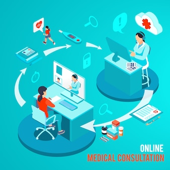 Médico e paciente durante consulta médica on-line por ilustração vetorial isométrica de computador