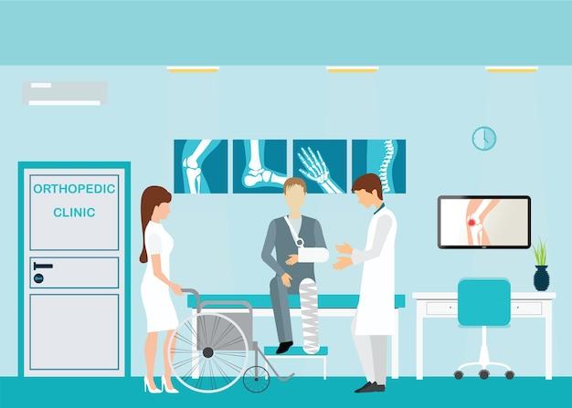 Médico e paciente em clínicas ortopédicas