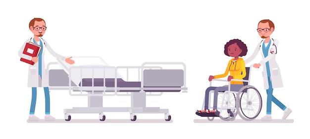 Médico e paciente hospitalizado