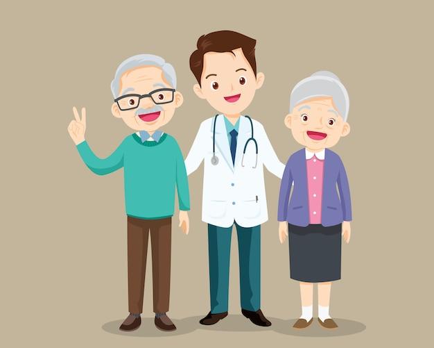 Médico e paciente mais velho
