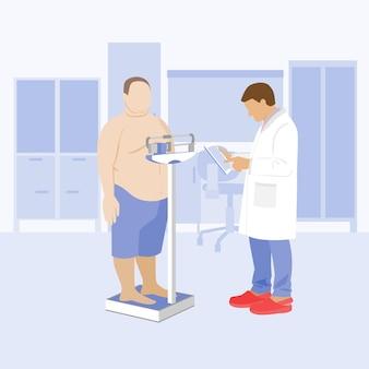 Médico e paciente obeso na clínica obesidade e diabetes balanças médicas