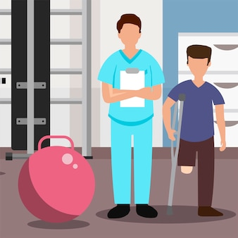 Médico e paciente sem uma perna no centro de reabilitação