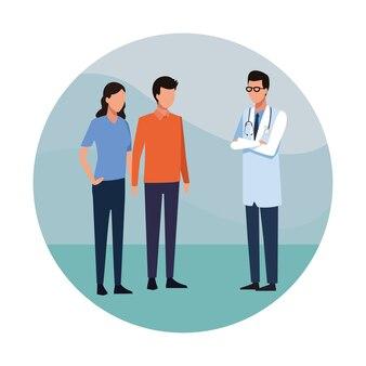 Médico e pessoas