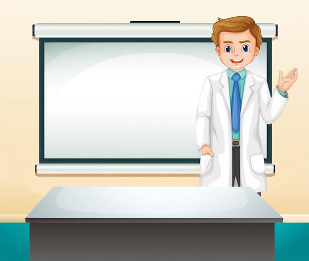 Médico e tela branca no quarto