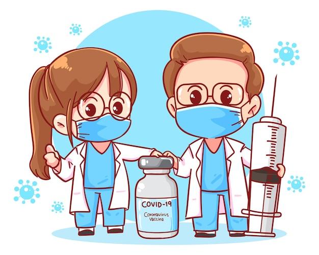 Médico e vacina contra coronavírus ilustração da arte da seringa com injeção de coronavírus