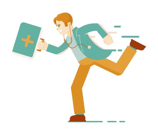 Médico em execução. médico, médico praticante ou paramédico de uniforme com bolsa de equipamentos médicos correndo com pressa para prestar primeiros socorros isolado no branco. ilustração de ajuda médica de emergência