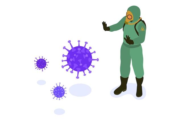 Médico em ilustração de roupas de proteção química