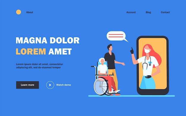 Médico em máscara de consultoria de pacientes por meio da página de destino do smartphone