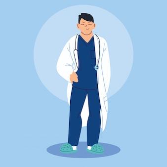 Médico em pé com bata médica Vetor Premium