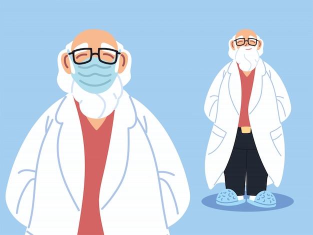 Médico em pé usando máscara facial