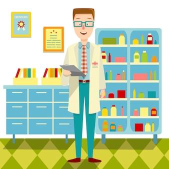 Médico em seu escritório design plano