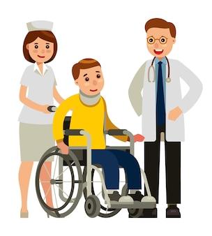 Médico enfermeira e paciente em cadeira de rodas