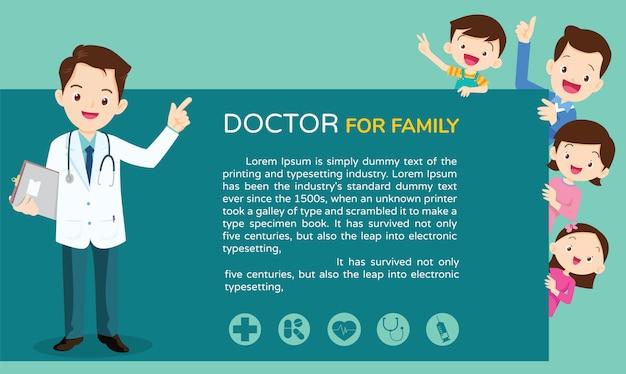 Médico esperto e fundo de família bonito
