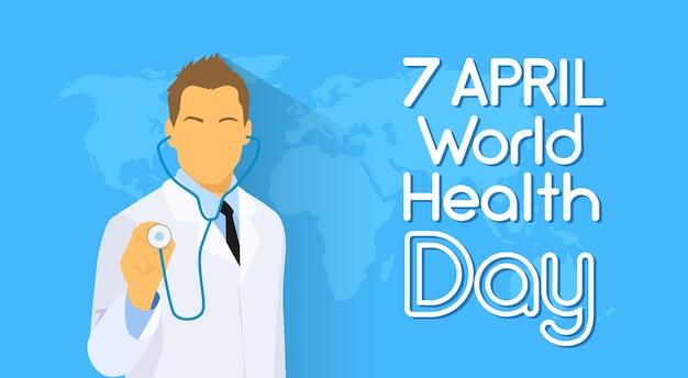 Médico, estetoscópio segura, sobre, dia mundial mapa, dia saúde