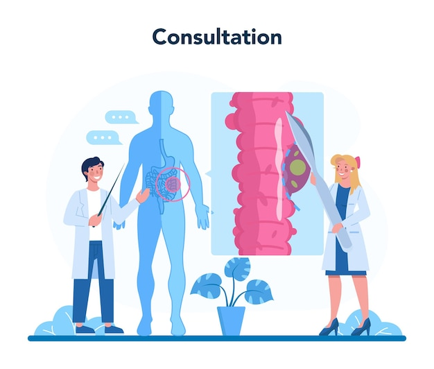 Médico examina intestino Vetor Premium