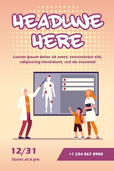 Médico explicando anatomia humana para modelo de panfleto infantil