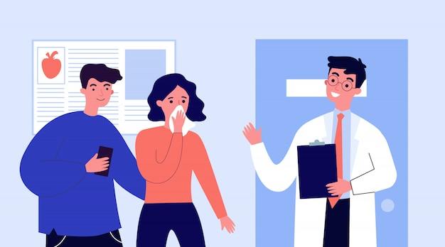Médico explicando o diagnóstico para os pacientes