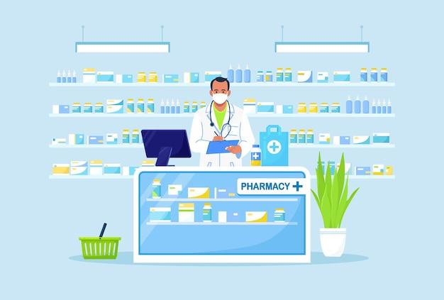 Médico farmacêutico em pé atrás do balcão da farmácia.