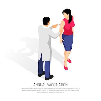 Médico fazendo uma vacina para uma paciente do sexo feminino