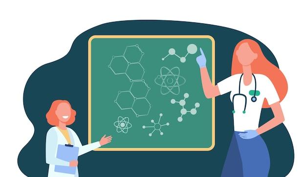 Médico feliz explicando genética molecular para criança. ilustração de desenho animado