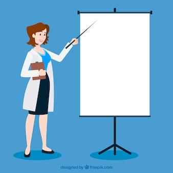 Médico feminino, apontar, whiteboard