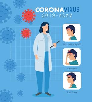 Médico feminino com campanha de sintomas coronavírus 2019 ncov