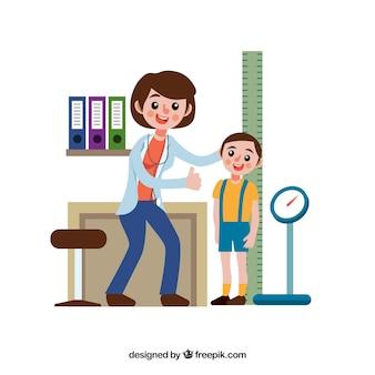 Médico feminino, com, criança