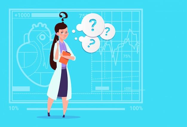 Médico feminino, confuso, pensando médico, clínicas, trabalhador, hospital