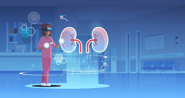 Médico feminino enfermeira usando óculos digitais olhando realidade virtual rins órgão humano anatomia